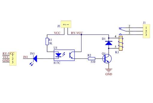 Relejni modul 1x shema