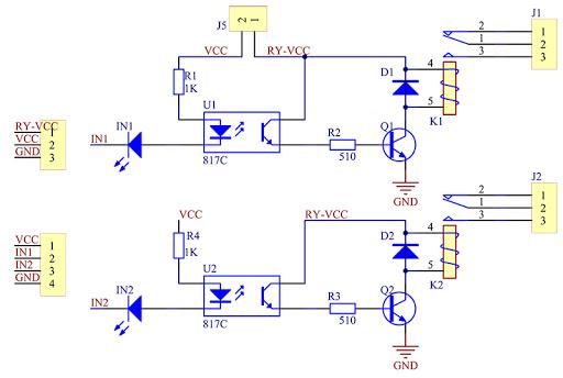 Relejni modul 2x shema