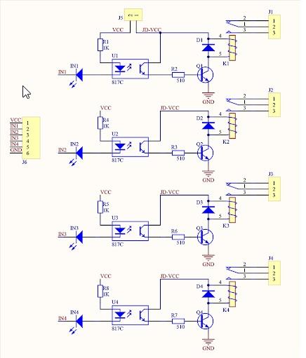 Relejni modul 4x shema