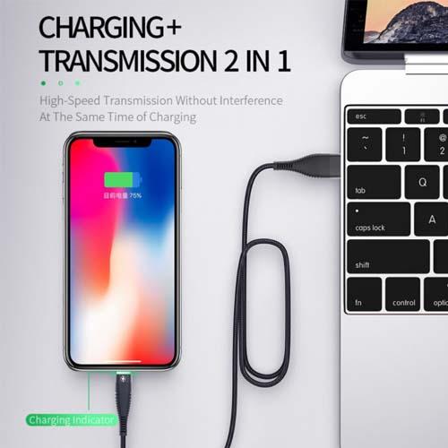 iPhone USB kabel črn zelena LED 01
