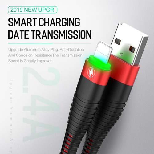 iPhone USB kabel črn zelena LED 02