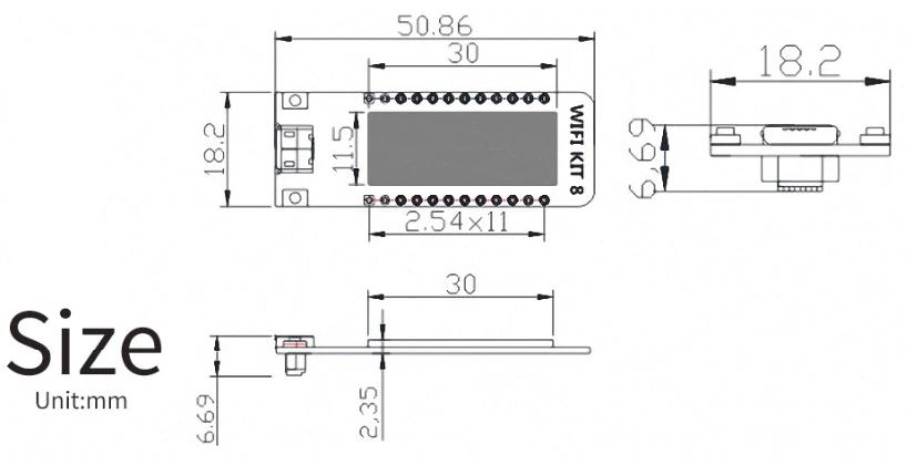 ESP8266 z 0.91 inch OLED size