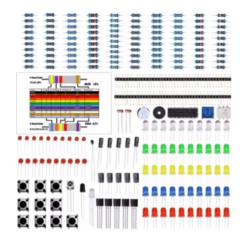 Komplet osnovnih elektronskih komponent PVC škatla 01
