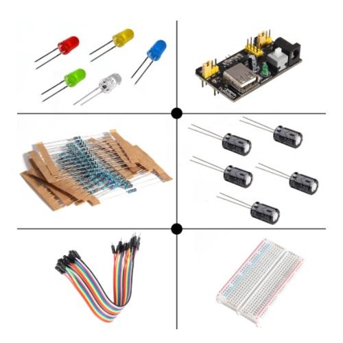 Komplet osnovnih elektronskih komponent s protoboardom PVC škatla 01